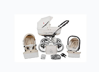 Luxus Kombi Kinderwagen 3in1  Weiss Creme Turran Leatherette