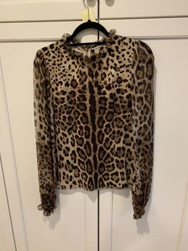 Long Sleeve Silk Leopard Blouse With Chiffon Sleev