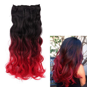 queentas natural black to bright red dip dye ombre clip in