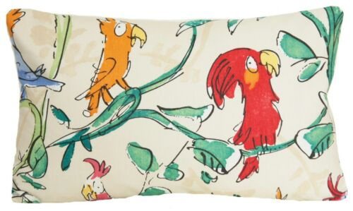 """Cockatoos Cushion Cover Quentin Blake Comical Parrots Printed Fabric 16/"""" 18/"""" 20/"""""""