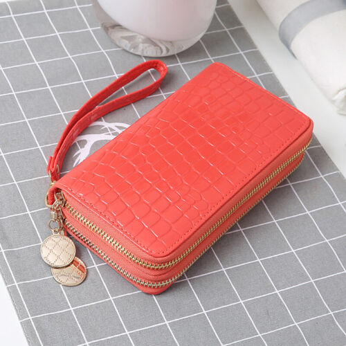 Women Fashion PU Leather Double Zipper Design Wallet Cell Phone Coins Card Bag Z