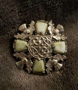 Vintage-Jacobite-connemara-marble-stone-green-Agate-Stone-Scottish-Brooch-pin