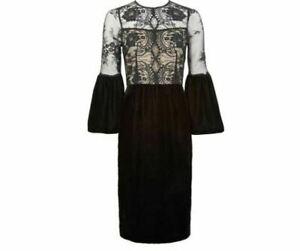 Bell-Sleeve-Lace-amp-Velvet-Dress-by-Kaleidoscope-UK-Size-16-Brand-New-RRP-70