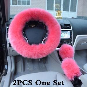 Universal-Car-Furry-Pink-Steering-Wheel-Cover-Woolen-Fur-Gear-Knob-Shifter-Brake