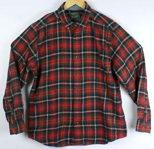Woolrich-Men-Large-Long-Sleeve-Cotton-Red-Green-Plaid-Check-Tartan-Flannel-Shirt