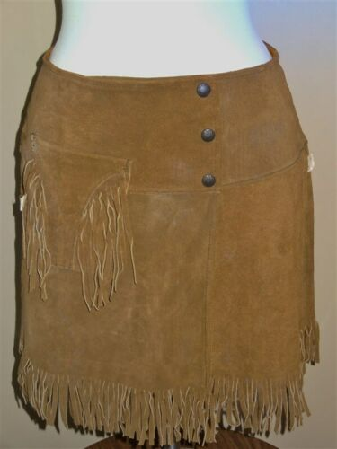 1960s NWT Suede Fringe MINI-SKIRT Hippie Pioneer W