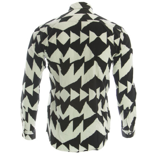 SATURDAYS NYC Men/'s Black Crosby Mirror Print Shirt 415CRSBMIR $125 NWT