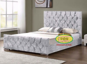 Bed Crushed Velvet Fabric Upholstered Bed Frame 3 Ft Double King