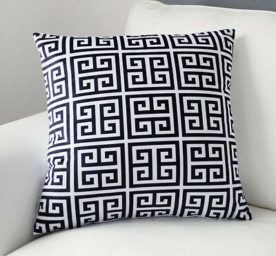 "Black & White Geometric Pattern Pillow Case Velvet Decorative Cushion Cover 18"""