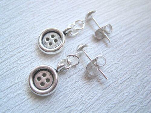 Tibetano Plata Aretes Rockabilly Retro Bolsa De Regalo * Lindo pequeño botón de plata