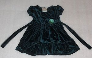 Toddler-Girls-Green-Velour-Holiday-Dress-or-Party-Dress-Size-2T