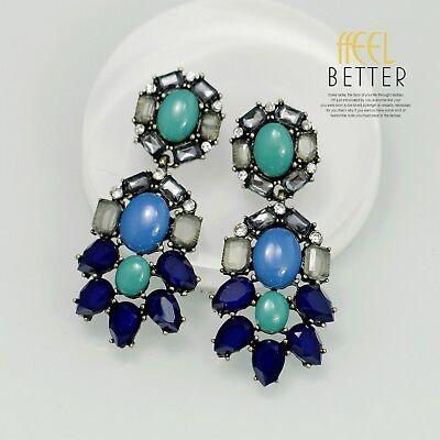 Boucles d/'Oreilles Clip Pince NON Percée Bleu Vert Goutte Pendante Vintage J2