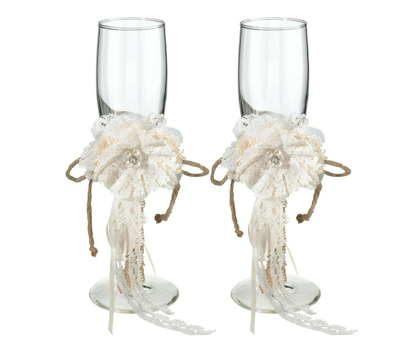 Vintage Rustic Wedding Burlap and Lace Toasting Glasses   Champagne Flutes
