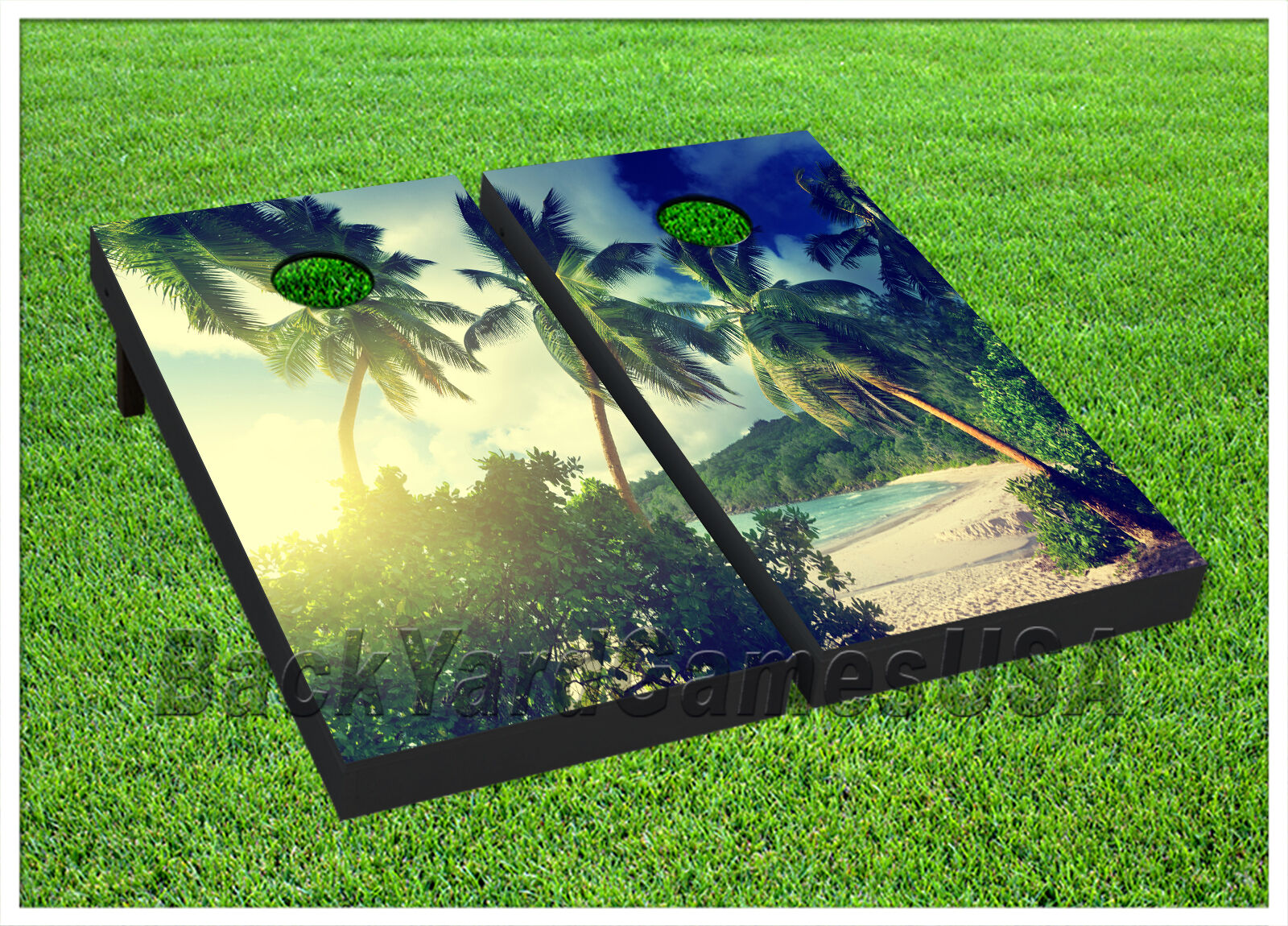 Sunset at Beach CORNHOLE BEANBAG TOSS GAME w Bags Game Board Palm Tree Set 706