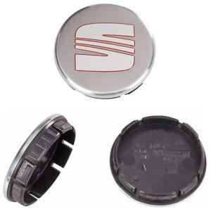4-SEAT-Original-Nabenkappen-56-mm-Felgendeckel-Nabendeckel-Ibiza-Leon-Silber-Rot