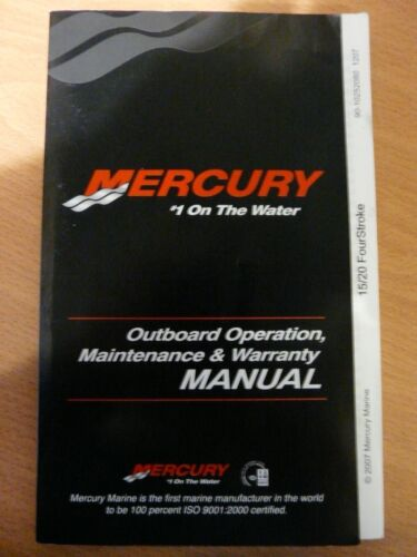 Mercury//Mariner Operation /& Maintenance manual F15hp /& F20hp Carb Fourstrokes