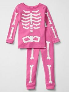 4e7a728c1cde NEW Baby Gap Girls 2 Piece PJs Glow in Dark Skeleton Halloween Set ...