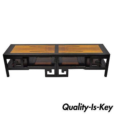 Michael Taylor For Baker Rosewood Black Greek Key Asian Long Coffee Table Ebay