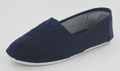 Damen Reflex flach Leinen Freizeit Espadrilles Schuhe weiß-marine und rot f8710
