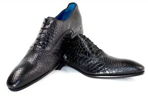 Ivan Troy Black Crocodile Handmade Italian Leather Dress Shoes/Oxford Shoes 46