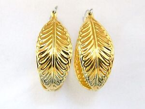 Image Is Loading Vintage Leaf Hoop Earrings Dangle Drop Delicate Retro