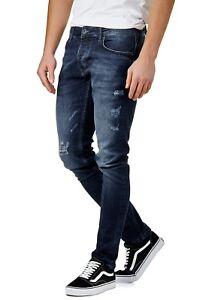 Herren Biker Jeans Hose 5 Pocket Slim Fit Trousers Stone