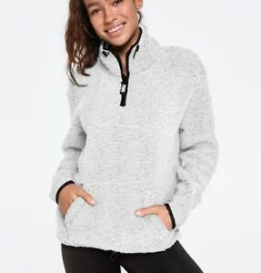 large Gris chiné XL X Pink Pink Nwt Sherpa Zip Quarter's Taille Givré sQrthCd