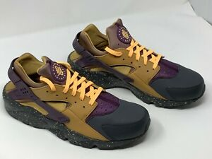 detailed pictures e8996 b0111 Details about Nike Air Huarache Run PRM Gold Purple Men's Sz 9.5 Anthracite  704830 012