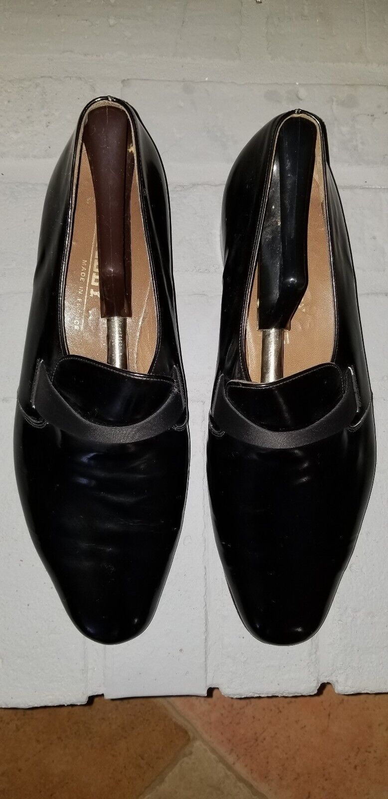 BALLY schwarz PATENT LEATHER LEATHER LEATHER herren schuhe, PUMPS,Größe 10 1 2 M, MADE IN FRANCE ae29e3