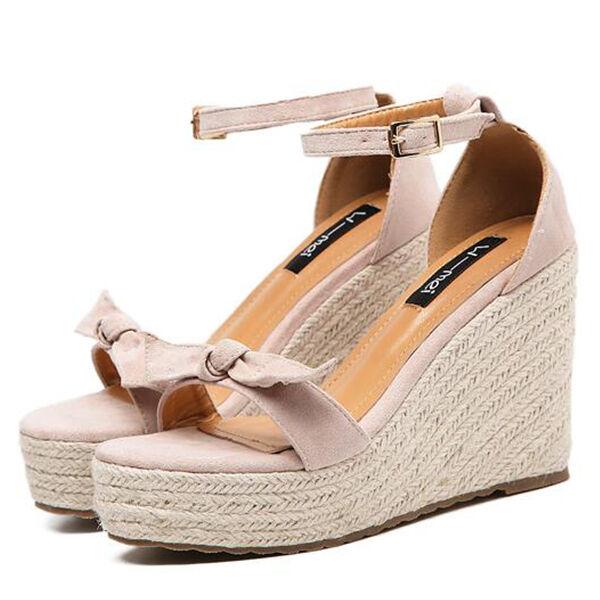 Chaussures chaussons sabot sandales talon compensé 11 cm beige corde CW886
