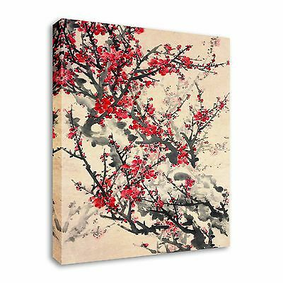 Japanese / Chinese Painting Sepia Cherry Bloom Canvas Wall Art Print
