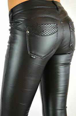 Damen Hose Kunst-Lederhose Jeans Röhrenhose schwarz slim fit Leder-Optik 207 NEU