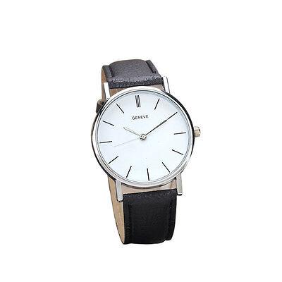Women Fashion Design Leather Band Stainless Steel Case Analog Quartz Wrist Watch
