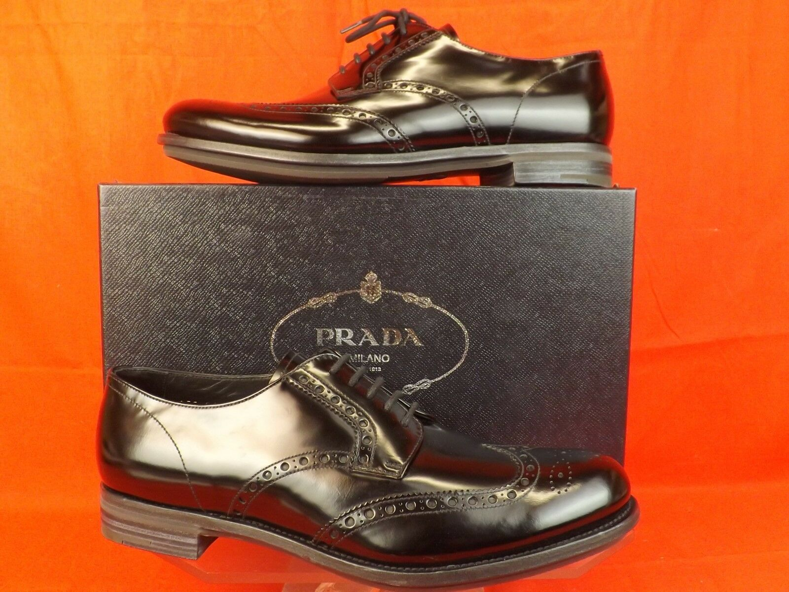 NIB PRADA BLACK PATENT LEATHER LACE UP WINGTIP PERFORATED OXFORDS 10 11  850