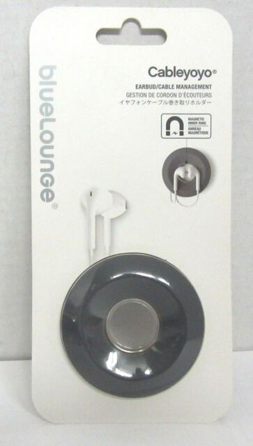 NEW Bluelounge Cableyoyo Earbud/Cable Management Soft Silicone Rubber Dark Grey