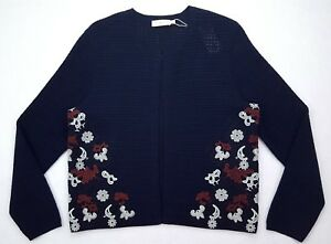 Tory-Burch-Blue-XL-Sweater-Shrug-New-Womens-Embroidered-Multicolor-Open-Cardigan
