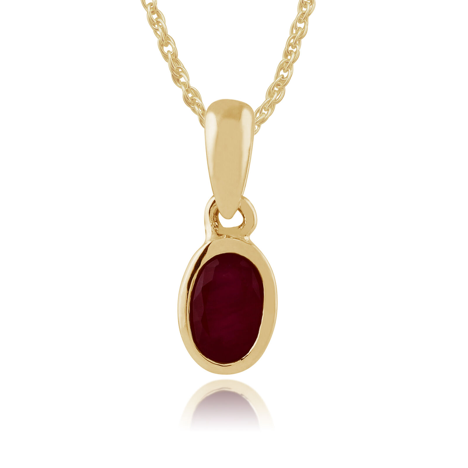 Gemondo 9ct Yellow gold Framed 0.32ct Ruby Oval Pendant on Chain