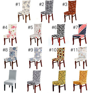 Image Is Loading AU Washable Chair Covers Stretch Slipcovers Short Dining
