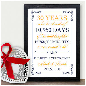 30 Years Wedding Anniversary Gifts.Details About 30th Wedding Personalised Anniversary Gift 30 Wedding Anniversary Presents Pearl