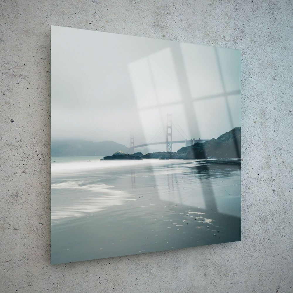 60x60cm Wall Art Glass Print Canvas Picture Large USA Sea Beach Fog p113813