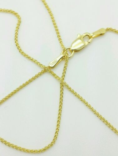 """14k Yellow Gold Round Wheat Necklace Pendant Chain 20/"""" 1.0mm"""