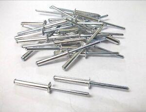 4.8mm x 21mm Blind Pop Rivets Black Dome Open Aluminium Body Steel Stem 50 PACK