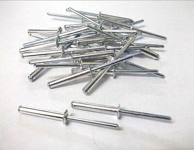 4.8mm x 6mm Blind Pop Rivets White Dome Open Aluminium Body Steel Stem 100 PACK