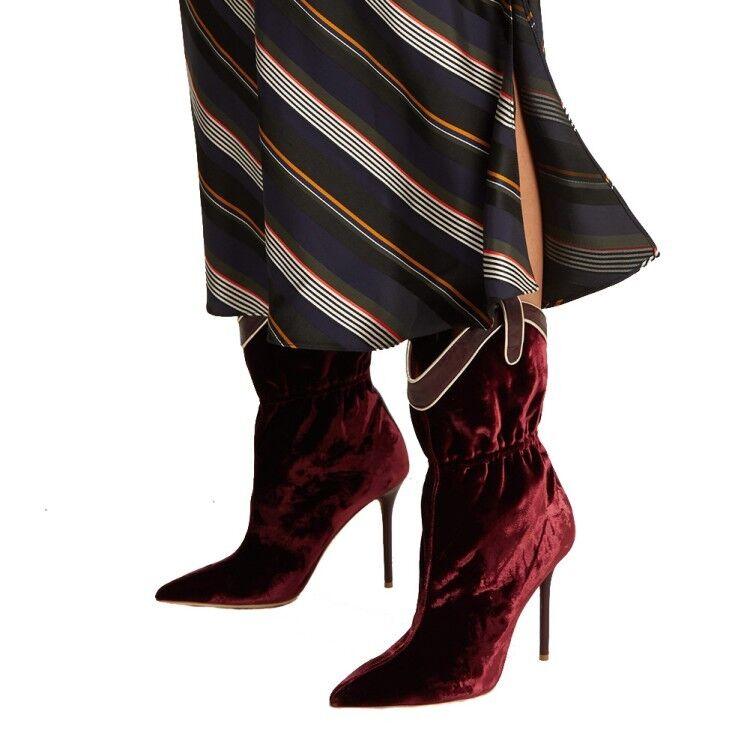 Fashion Wouomo Mid-Calf stivali Stiletto High Heels Suede Party scarpe US 4.5-11.5