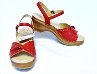 Sanita Dawn Leather Platform Sandals 9.5-10/40 Red Summer Cute Fun Party