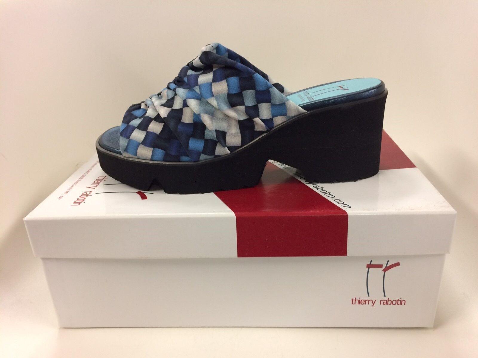 Thierry Rabotin bluesh Wash Navy Comfort Wedge Sandal Women's Sizes 36-42 NEW