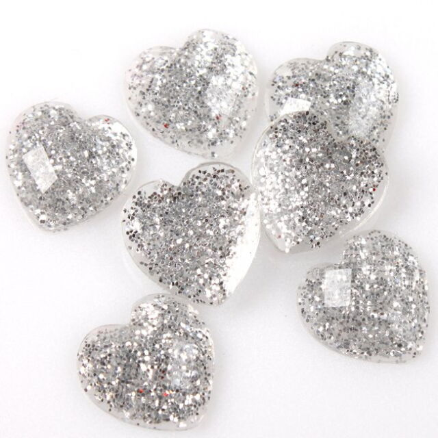 120x Bulk Heart Style Clear Shiny Silvery Rhinestone Flatback Embellishment 10mm