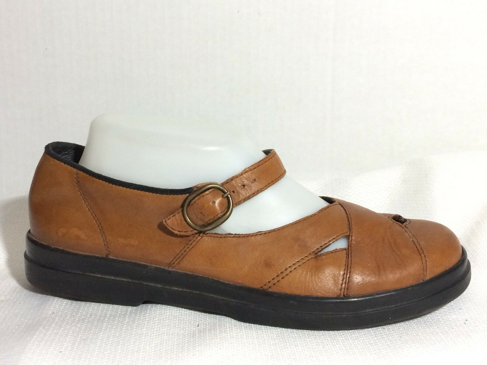 Rieker Women 9 M Antistress Light Brown Mary Jane Leather Loafer Flat Shoe