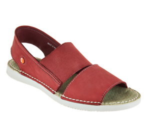 Softinos por Fly London Leather Slip-On Sandalias Tai Rojo EU35 US 5 Nuevo