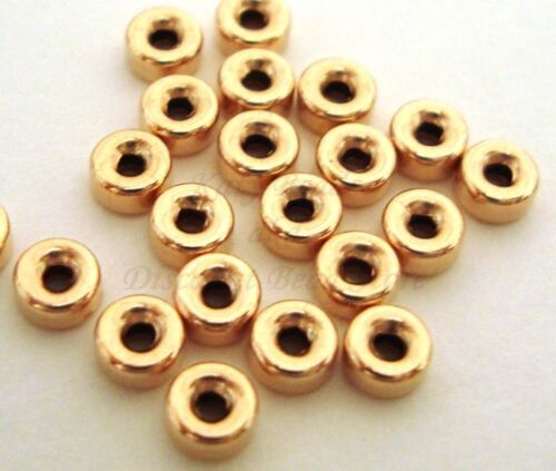 50pc 3mm 14k Yellow Gold Filled tiny roundel shiny seamless bead spacer USA GS33